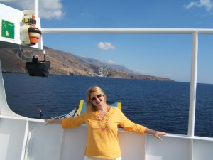 on ferry to Loutro
