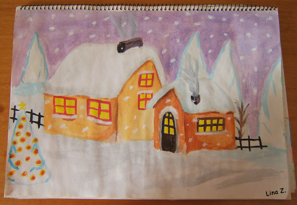 Christmas snow scene illustration